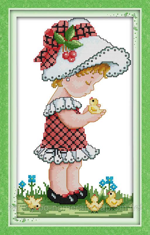 Набор вышивка крестом Идейка Девочка в шляпке (ide_R369) 27 х 44 см
