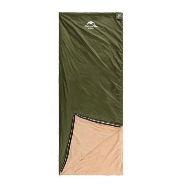 Спальний мішок Nature Nike LE220 кораловий оксамит 190×75см, вага 0,87 кг, 8-15℃ зелений