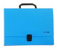 Портфель пластиковый А4 на застежке, 1 отделение, голубой
