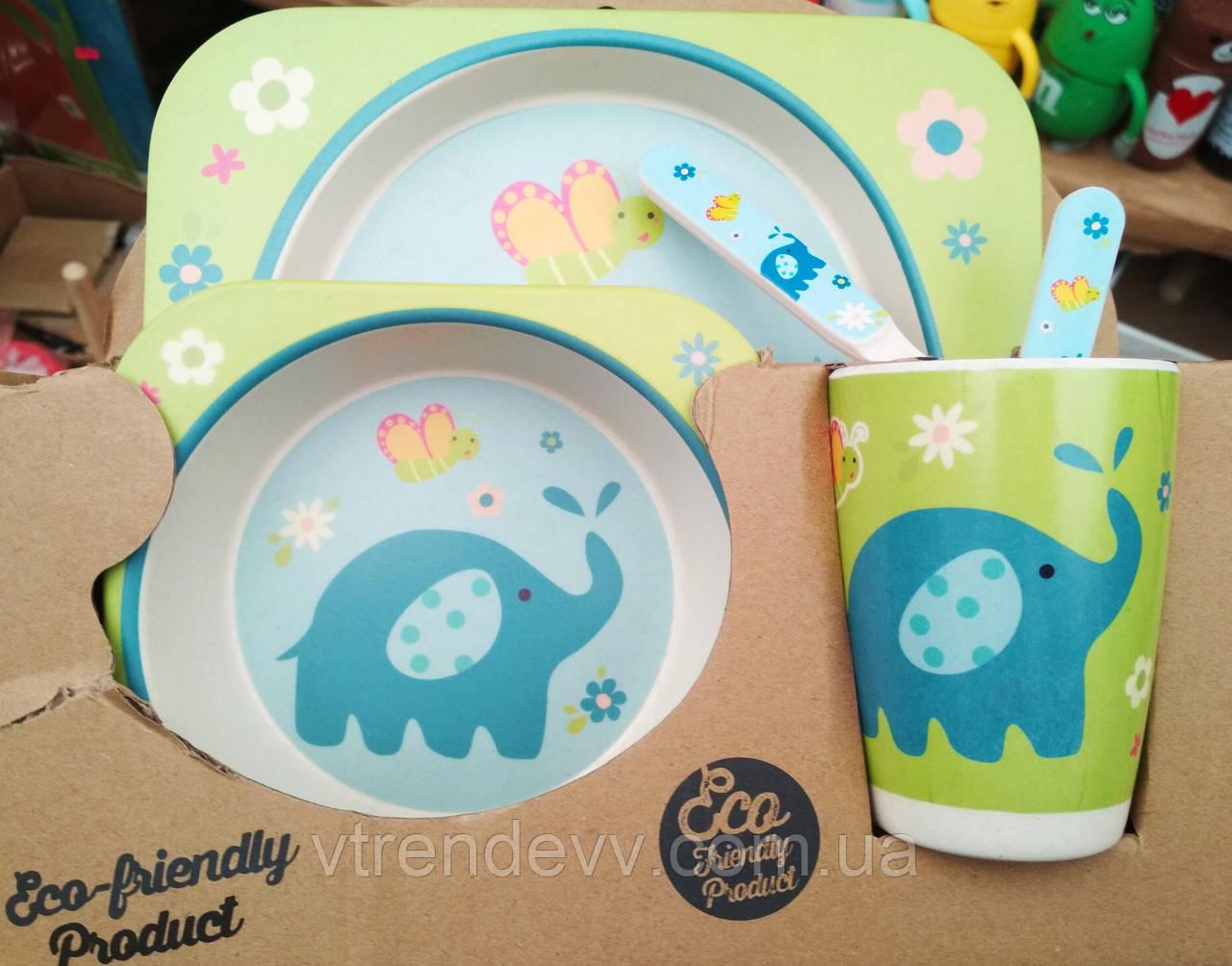 Набор детской посуды из бамбука Bamboo Fibre kids set Слоник 5 в 1