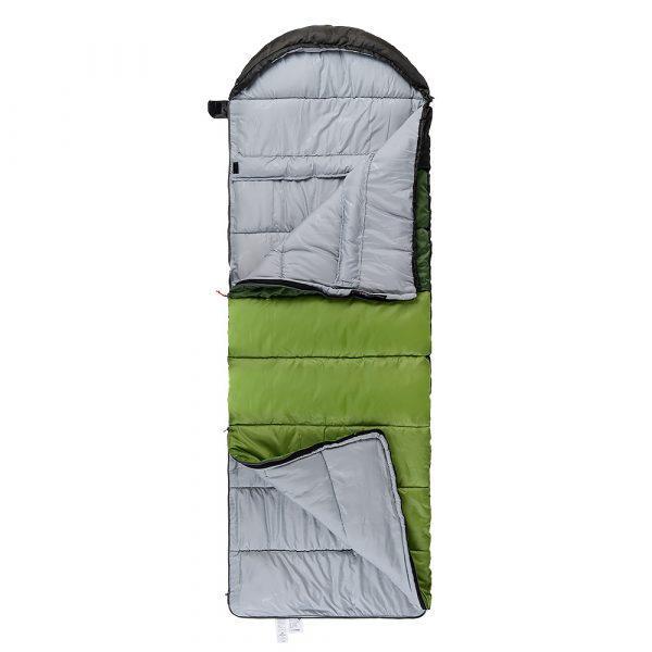 Спальный мешок с капюшоном Nature Hike U150 (190+30)x75см, вес 1,1кг, 5-10℃ зеленый