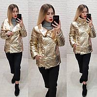 Женская демисезонная куртка (арт 1001) цвет золото с бронзовым воротником, фото 1