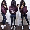 Куртка бомбер женская стильная демисезонная в стиле Gucci коттон на подкладе Gmk911