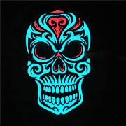 Маска светящаяся под музыку! Звуковая светодиодная маска в виде черепа.
