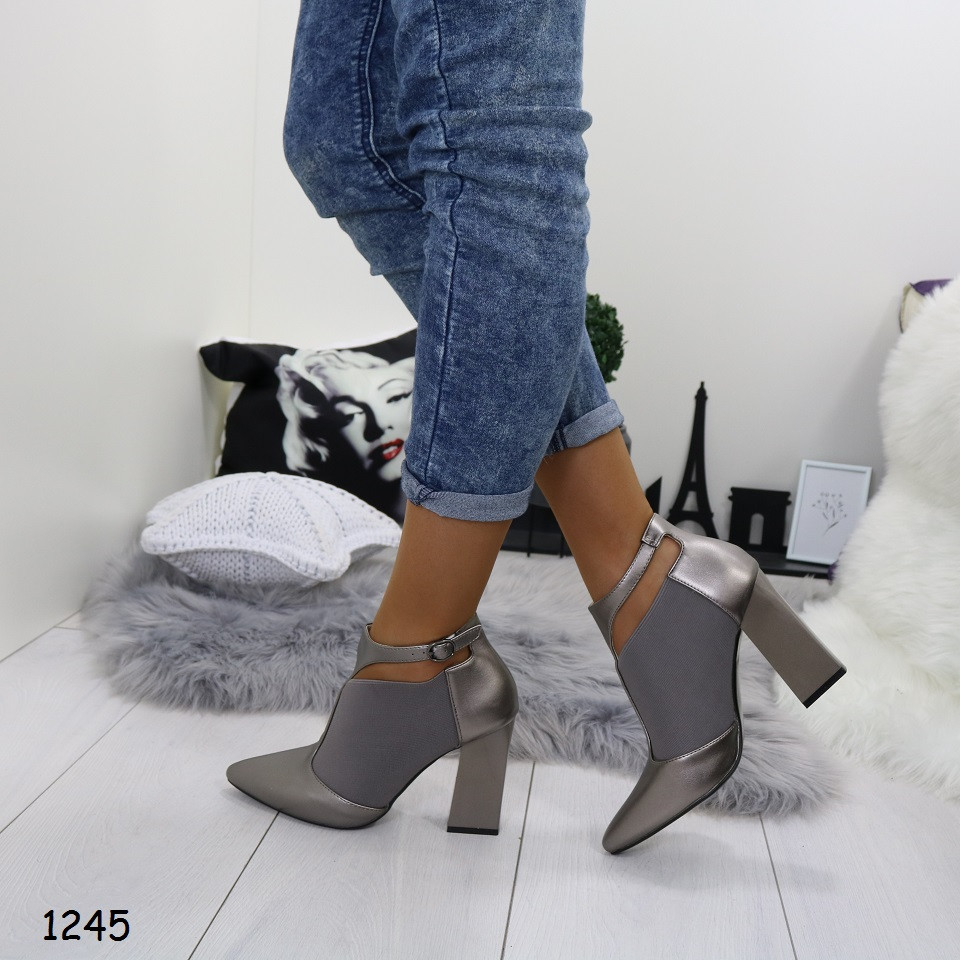 Туфли закрытые эко кожа+резинка серебро 1245