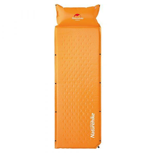Надувной коврик с подушкой Nature Hike ULTRALIGH TPU 185х60х2,5см, вес 1кг, оранжевый