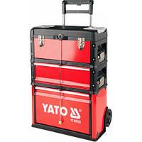 Чемодан-тележка для инструментов YATO 3-секции. на 2-х колесах с выдвижной ручкой