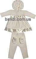 Крестильное платье (комплект) рост 62 велюр молочный на девочку для крещения М-765