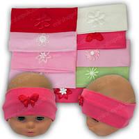 ОПТ Яркие трикотажные повязки на голову для девочки, р. 38-40, 46-48 (5шт/упаковка)