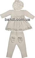 Крестильное платье (комплект) рост 62 велюр молочный на девочку для крещения М-075