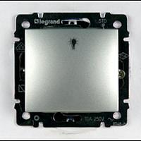 Valena Выключатель без фиксации с символом лампи 10А Алюминий