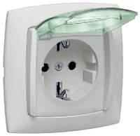 Galea Life Розетка 2К+З с крышкой и шторками (16А, 250В~, автоматические клемы) с лицевой панелью белая