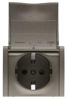 Galea Life Розетка 2К+З с лицевой панелью с защитными шторками с крышкой, темная бронза Legrand