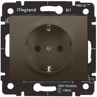 Galea Life Розетка 2К+З с лицевой панелью с защитными шторками, темная бронза Legrand