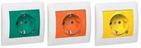 Galea Life Розетка 2К+З со шторками и индикацией (16А, 250В~, винтовые клеммы) с лицевой панелью Оранжевый