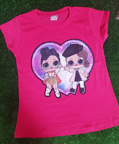 Детская футболка для девочки с мигающим принтом ЛОЛ 5-8 лет, фото 2