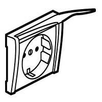 Legrand Galea Life Лицевая панель розетки с заземляющим контактом со шторками с крышкой Цвет: перламутр