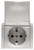 Galea Life Розетка 2К+З с крышкой и шторками (автоматические клемы) с лицевой панелью перламутр