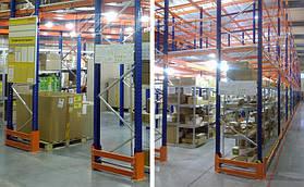 Защита всего периметра складского мезонина нивелирует возможные последствия от контакта со складской техникой
