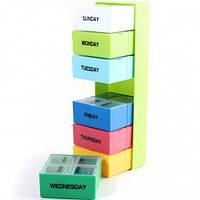 Органайзер для таблеток цветной с днями недели/ таблетница 28 ячеек 7 дней
