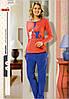 Женская пижама, костюм домашний с брюками hmd 80006