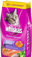 Корм Whiskas (Вискас) подушечки с нежным паштетом лосось/тунец/креветки для взрослых кошек 5 кг