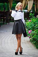 Стильная кожаная расклешенная юбка | Черная, фото 1