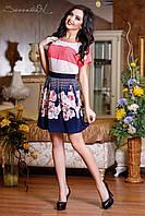 Женская расклешенная летняя юбка с цветочным принтом, фото 1