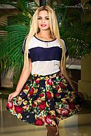 Женская шифоновая летняя юбка   Цветочный принт