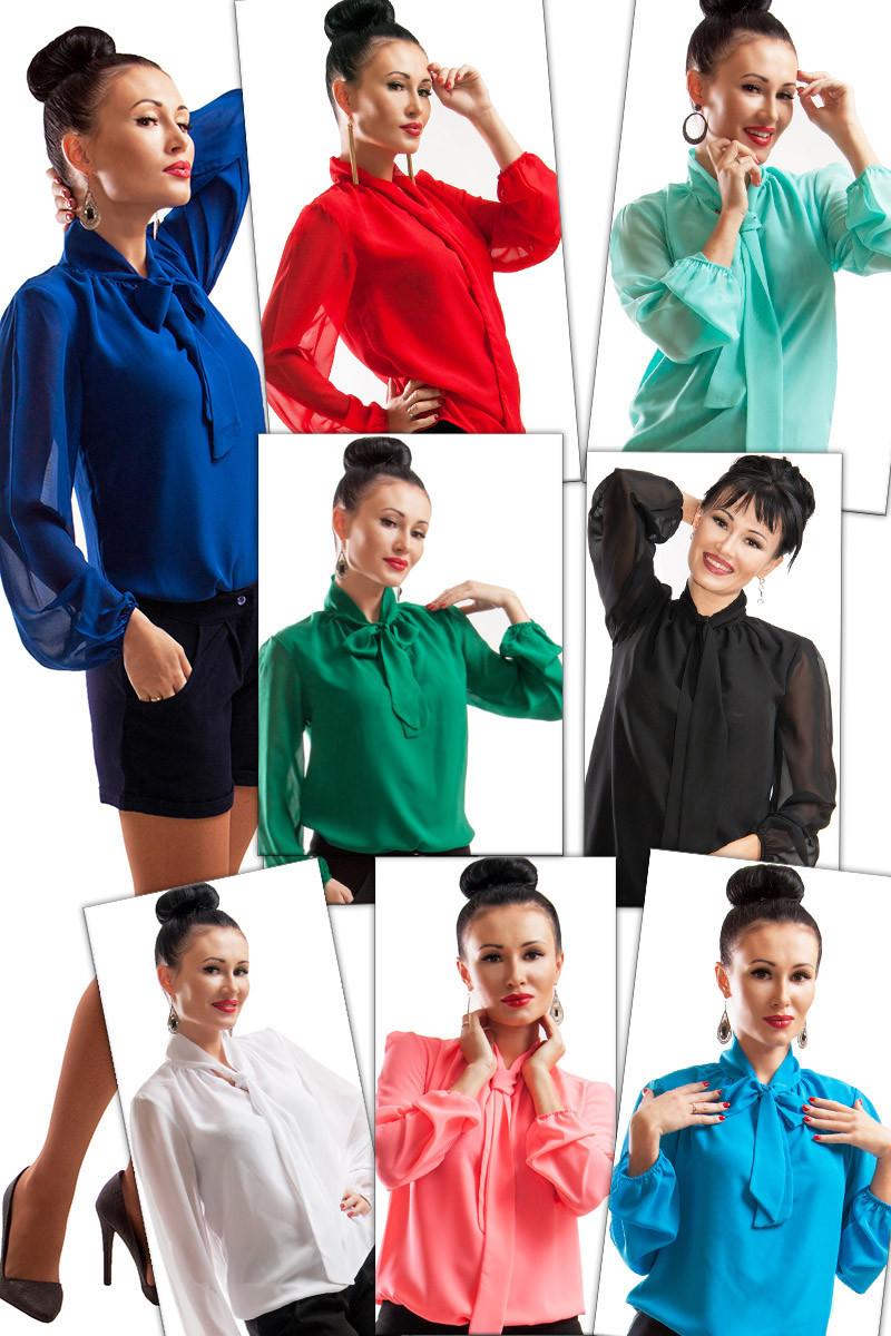 Офисная женская шифоновая блуза   р.42-70