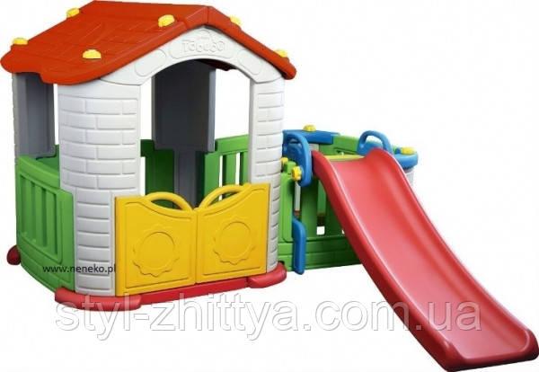 Великий дитячий садовий домік з гіркою