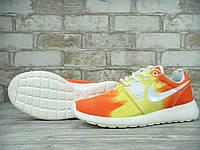Кроссовки женские в стиле Nike Roshe Run, текстиль, текстиль KD-10788. Оранжевые с желтым