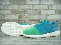 Кроссовки женские в стиле Nike Roshe Run, текстиль, текстиль KD-10913. Зеленые с голубым