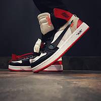 Кроссовки мужские Nike Air Jordan в стиле Найк Аер Джордан, натуральная кожа код DR-00038. Белые с красным