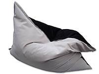 Двухцветное велюровое кресло мешок подушка бежевое 140*180 см, кресло-мат, фото 1