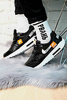 Кроссовки мужские Nike Air Max 90 в стиле Найк Аир Макс, натуральная кожа, текстиль код KS-1648. Черно-белые
