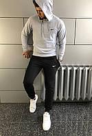 Костюм спортивный мужской Nike, хлопоковый трикотаж, полиэстер код товара OS-0144. Серый с черным