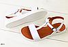 Босоножки кожаные белые без каблука