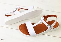 Босоножки кожаные белые без каблука, фото 1