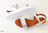 Босоножки кожаные серебристо-белые без каблука, фото 1