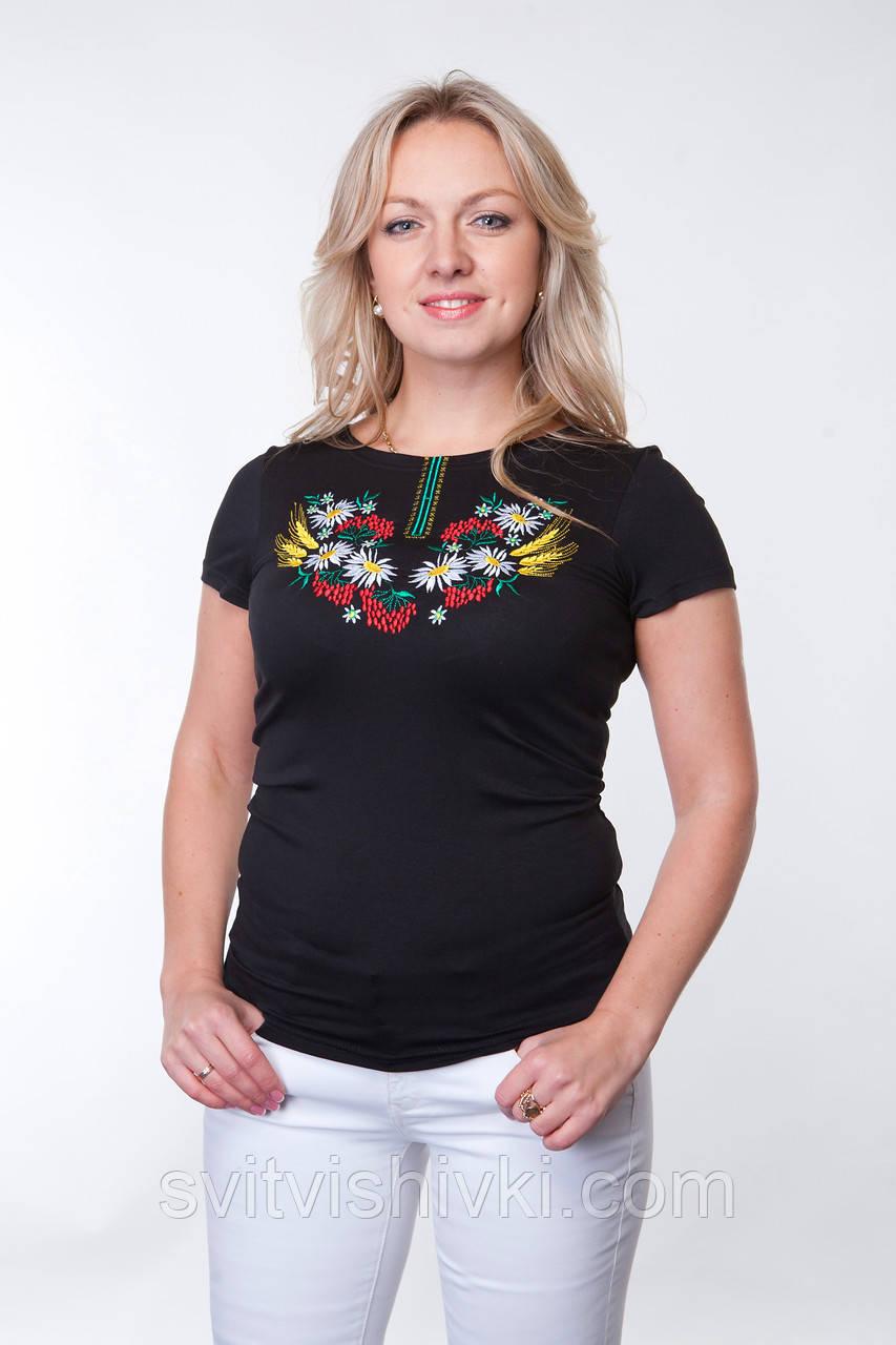 """Вышитая футболка женская""""Мак-Колосок"""""""