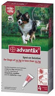 Адвантикс для собак 10-25 кг, 4 пипетки (капли на холку от блох и клещей)