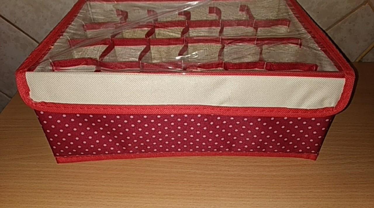 Органайзер для белья с прозрачной крышкой 24 ячеек 32х24х12 см (красный с рисунком)