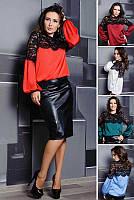 Шелковая женская блузка -Мери, до 60 размера