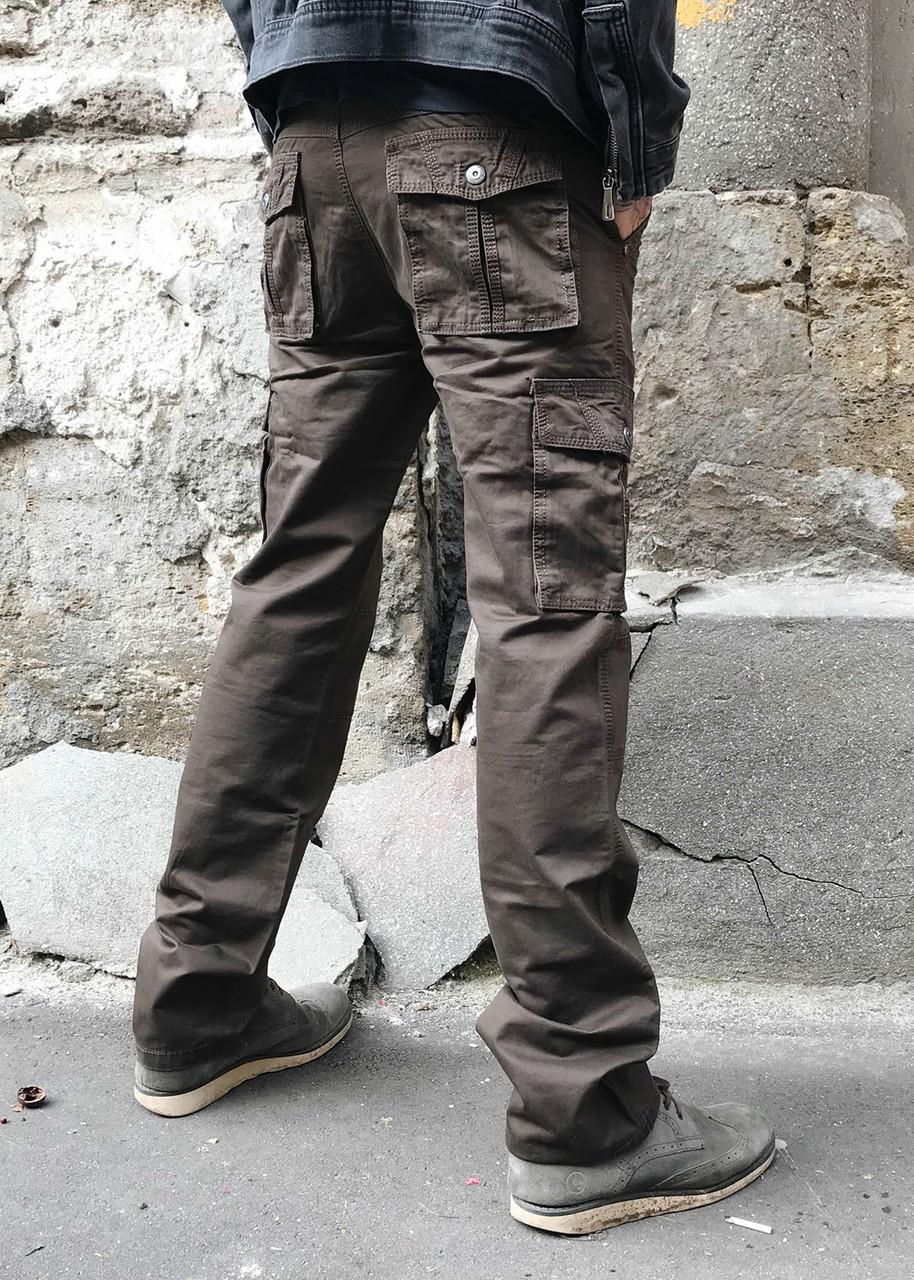 Джинсы карго карманы мужские (коричневые Iteno)