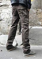 Джинсы карго карманы мужские (коричневые Iteno), фото 1
