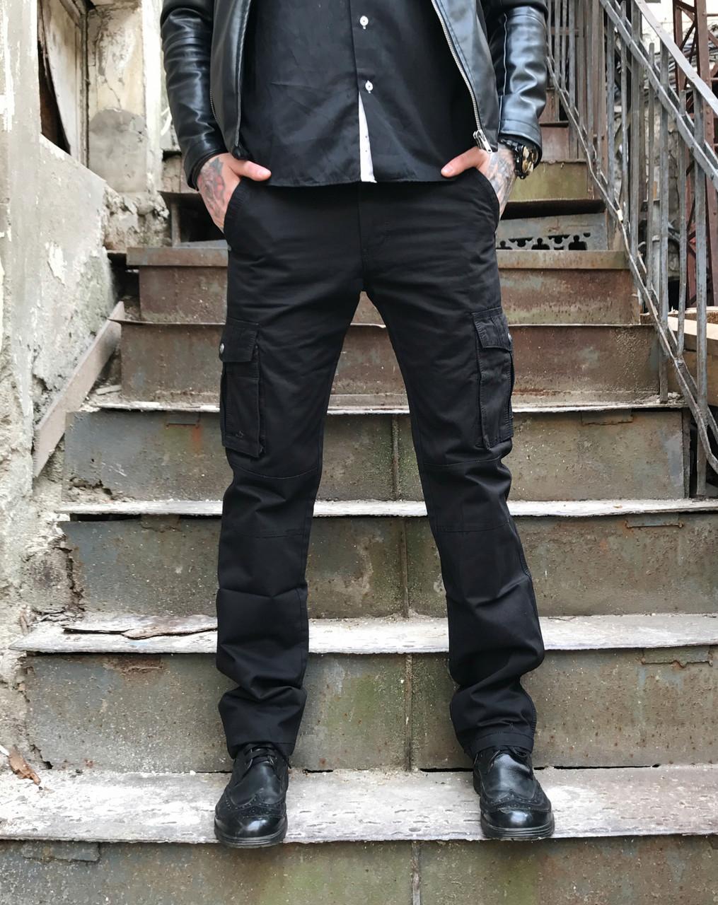 Джинсы карго карманы мужские (черные Iteno)