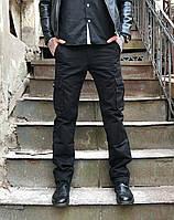 Джинсы карго карманы мужские (черные Iteno), фото 1