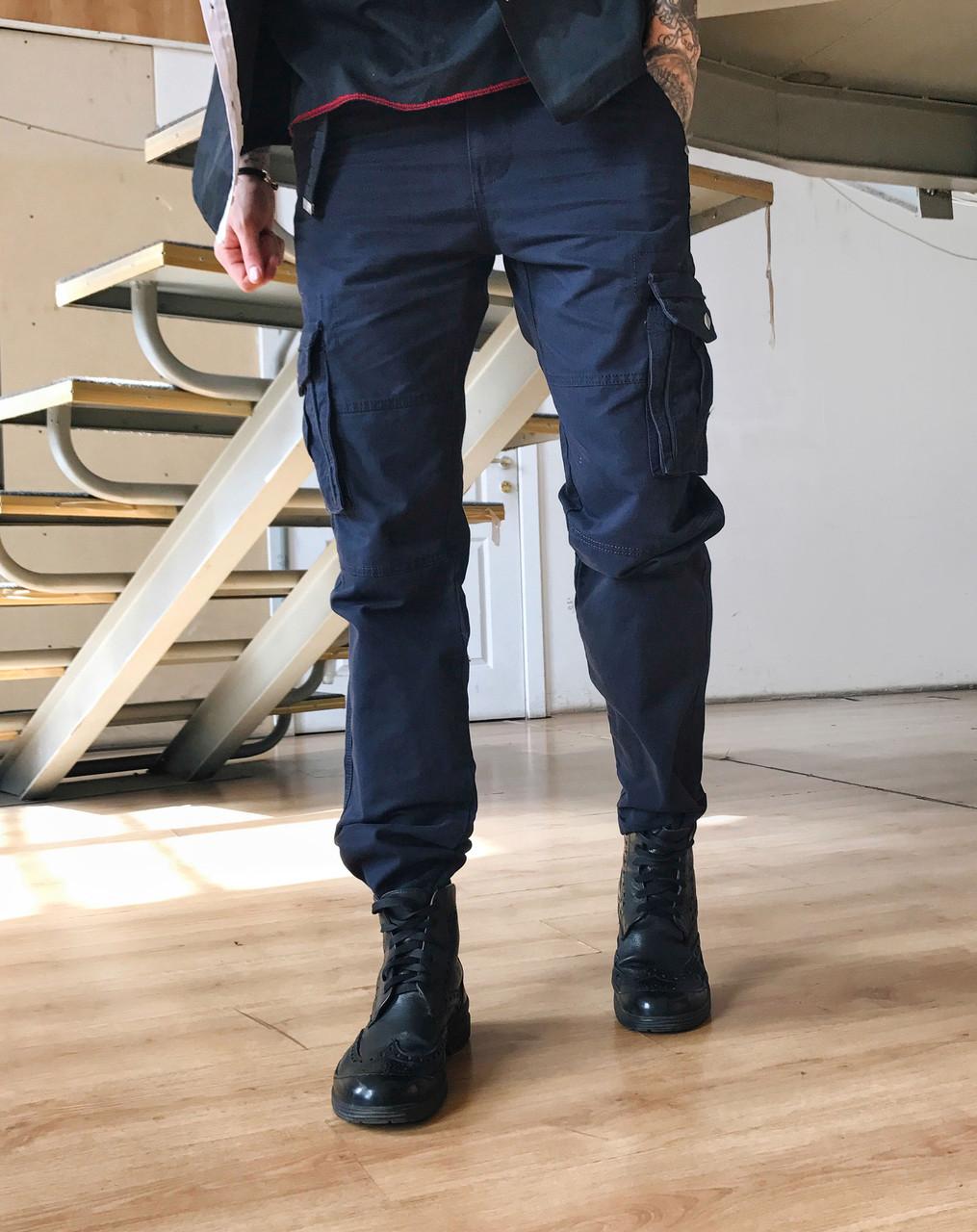 Джинсы карго карманы мужские батал ( №8 синие Iteno )
