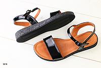 Босоножки кожаные лаковые черные , фото 1